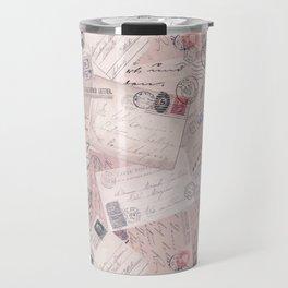 Nostalgic Letter and Postcard Collage Soft Pink Travel Mug