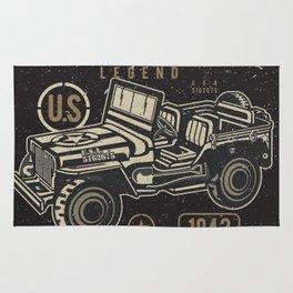 Vintage American Jeep Army Rug
