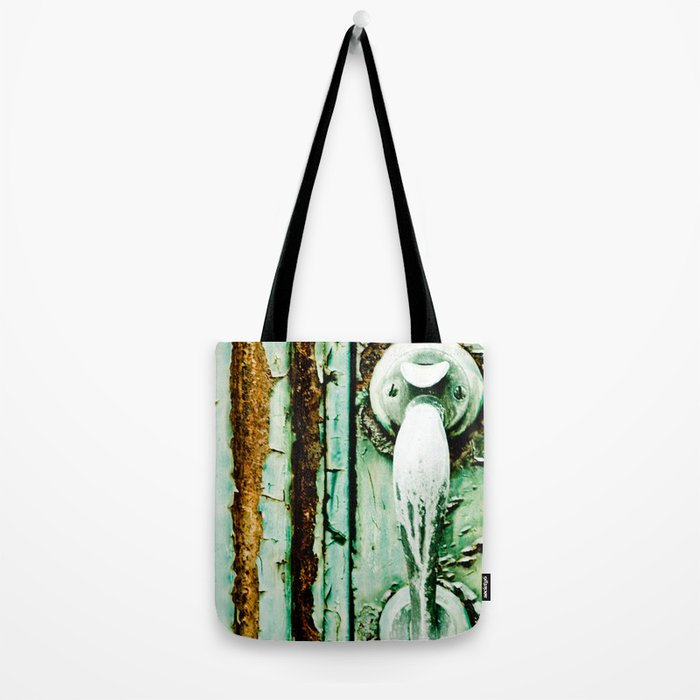 Green Door Handle, Peeling Turquoise Paint, Rusty Door Tote Bag