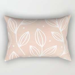 Watercolor Blush Leaves Rectangular Pillow