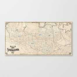 Vintage Map of Somerville MA (1910) Canvas Print