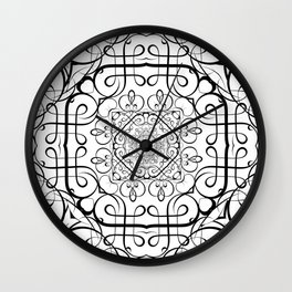 BLACK AND WHITE ORNAMENT Wall Clock
