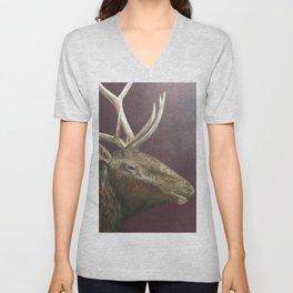 Big Bull Elk Profile Unisex V-Neck
