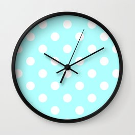 Polka Dots - White on Celeste Cyan Wall Clock