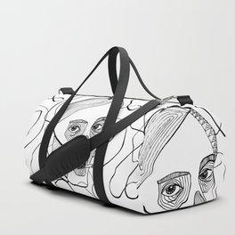 Sketch woman's head art. Duffle Bag