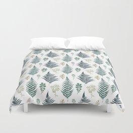turquoise fern pattern Duvet Cover