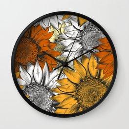 Beautiful pattern from hand drawn sunflowers Wall Clock