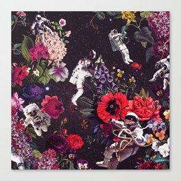 Flowers and Astronauts Canvas Print