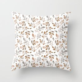 Watercolor brown fall autumn leaves floral Throw Pillow