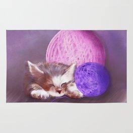 Tiny Sleepy Kitten Rug