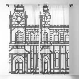 Old Victorian House - black & white Sheer Curtain