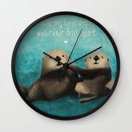 Sea Otters in Love Wall Clock