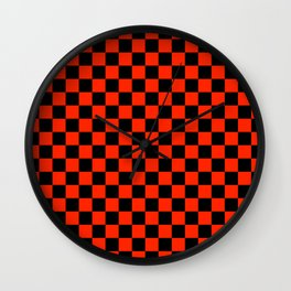 Black and Scarlet Red Checkerboard Wall Clock