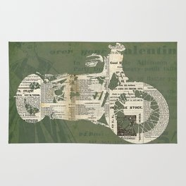Motorcycle on newspaper, news collage art, decoration man cave, bike cut art Rug