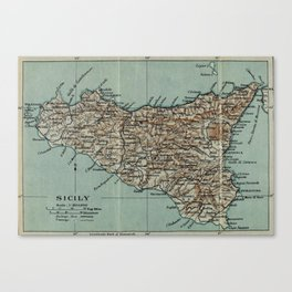 Vintage Map of Sicily Italy (1911) Canvas Print