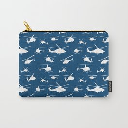 Helicopter Silhouettes on Blue Carry-All Pouch