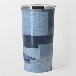 Boroboro Blue Jean Japanese Boro Inspired Patchwork Shibori Travel Mug