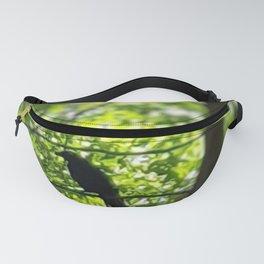 Black Bird Summer Green Tree Fanny Pack