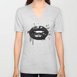 Black and white glamour fashion lips Unisex V-Neck
