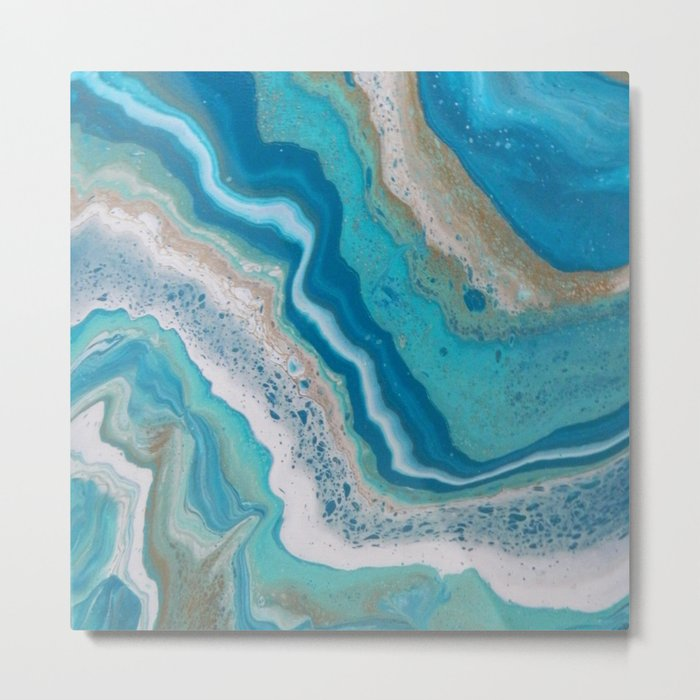 Turquoise River, Abstract Fluid Acrylic Painting Metal Print