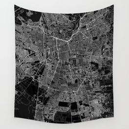 Santiago Black Map Wall Tapestry