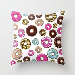 Donut Pattern, Colorful Donuts - Pink Blue Yellow Throw Pillow