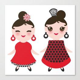 Spanish Woman flamenco dancer. Kawaii cute face with pink cheeks and winking eyes. Gipsy girl Canvas Print