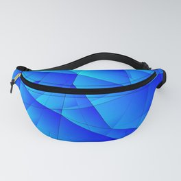 Bright sea pattern of heavenly and blue triangles and irregularly shaped lines. Fanny Pack