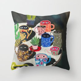 Suspicious mugs Throw Pillow