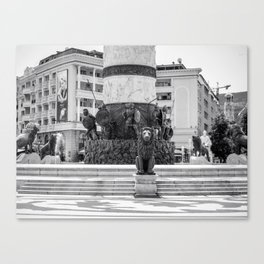 The great fountain at the Macedonia Square in Skopje Canvas Print