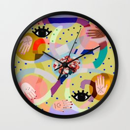 abstract evil eye , female hands, dots, love, flowers Wall Clock