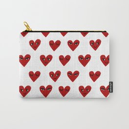 Heart love valentines day gifts hearts with faces cute valentine Carry-All Pouch