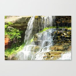 Misty Fountain Waterfall Canvas Print