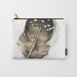 Bohemian Brown Spotted Chicken Feather Carry-All Pouch