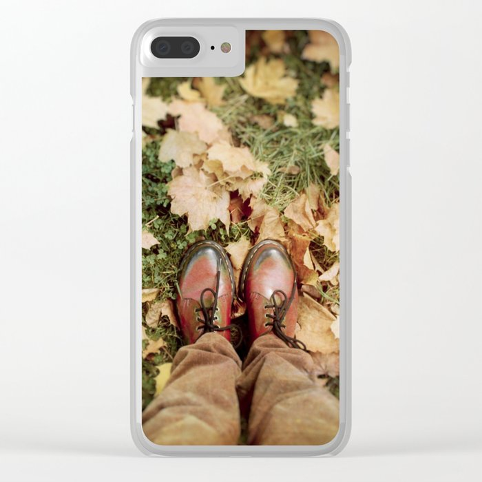 Shoes And Leaves Clear iPhone Case