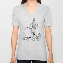 These Aren't The Droids You're Looking For? Inktober Drawing Unisex V-Neck