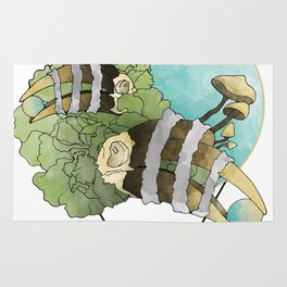 Hornbill Skulls - Green/Blue Rug