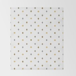 Silver and Gold Polka Dot Design Throw Blanket