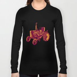Vintage Farm Tractor Woodcut Long Sleeve T-shirt
