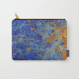 Boston Massachusetts 1893 colorful vintage old map. Orange and blue artwork Carry-All Pouch