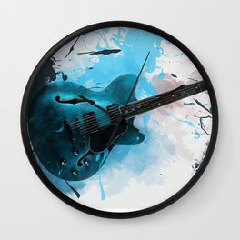 Electric Blue Guitar Wall Clock