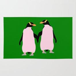 Gay Pride Lesbian Penguins Holding Hands Rug
