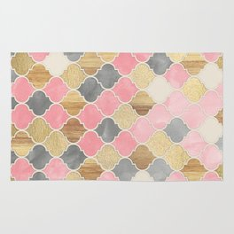 Silver Grey, Soft Pink, Wood & Gold Moroccan Pattern Rug