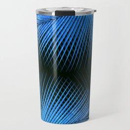 Palm leaf synchronicity - metallic blue Travel Mug