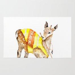 Traffic Controller Deer in High Visibility Vest Rug