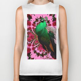 BEAUTIFUL GREEN PEACOCK PINK ROSES ABSTRACT Biker Tank