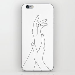 Hands line drawing illustration - Dia iPhone Skin