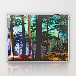 MOUNTAIN LAKE THROUGH HEMLOCK TREES Laptop & iPad Skin