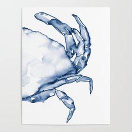 Coastal Crab in Watercolor, Navy Blue (Right Half in Set) Poster