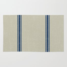 Blue Stripes on Linen color background French Grainsack Distressed Country Farmhouse Rug